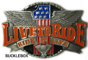 LIVE TO RIDE Belt Buckle + display stand